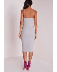 Missguided | Gray Scuba Strappy Cut Out Midi Dress Grey | Lyst