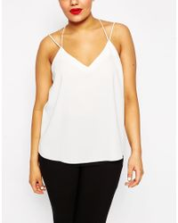 ASOS | Black Plunge Neck Strappy Cami | Lyst