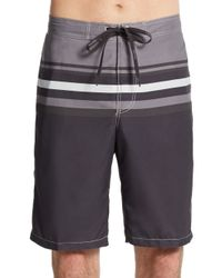 Calvin Klein | Black Variegated Striped Swim Shorts for Men | Lyst