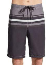 Calvin Klein - Black Variegated Striped Swim Shorts for Men - Lyst