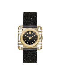 Tory Burch - Metallic Izzie Watch, Black Crystal/black, 36 X 36 Mm - Lyst