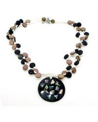 Aeravida | Black Abalone Collage Medallion Natural Wood Strands Necklace | Lyst