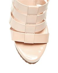 Steve Madden | Pink Groove Faux Leather Caged Platform Sandals | Lyst
