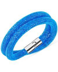 Swarovski | Metallic Silver-tone Blue Stardust Wrap Bracelet | Lyst