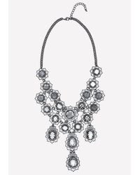 Bebe | Black Filigree & Crystal Necklace | Lyst