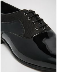 ASOS | Oxford Shoes In Black Patent And Nylon Mix for Men | Lyst