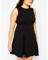 ASOS | Black Curve Empire Dress With High Neck | Lyst