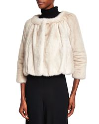 Co. - White Cropped Mink-Fur Jacket - Lyst