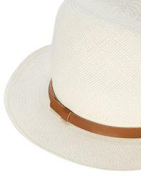 Hat Attack   White Original Leather Trim Panama Hat   Lyst