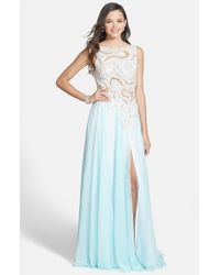 Mac Duggal - Blue Embellished Illusion Bodice Gown - Lyst