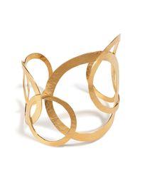 Herve Van Der Straeten | Metallic Hervé Van Der Straeten Hammered Gold-plated Hoops Bracelet | Lyst