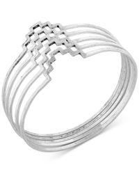 Lucky Brand | Metallic Silver-tone Geometric Bangle Set | Lyst