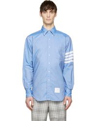 Thom Browne - Blue Oxford Striped_Sleeve Shirt for Men - Lyst