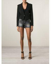 Versus | Black Distressed Denim Shorts | Lyst