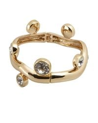Kenneth Jay Lane - Metallic Gold And Crystal Branch Bangle - Lyst