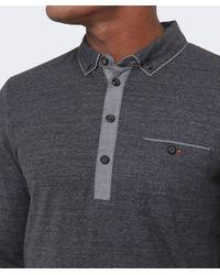 BOSS Orange Black Patcherman Long Sleeved Polo Shirt for men