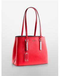 Calvin Klein | Red Galey Saffiano Leather City Metro Carryall | Lyst