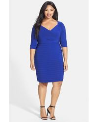 Adrianna Papell | Blue Shutter Pleat V-neck Sheath Dress | Lyst