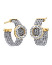 Alor - Gray Diamond Circle-Station Cable-Hoop Earrings - Lyst