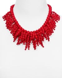 kate spade new york | Red Fringe Appeal Necklace, 17"