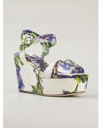 Dolce & Gabbana | White Wisteria Print Brocade Wedge Sandals | Lyst