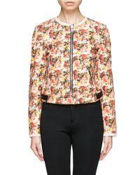MSGM | Multicolor Leather Trim Floral Print Canvas Jacket | Lyst