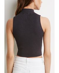 Forever 21 - Gray Mock-neck Cropped Sweater - Lyst