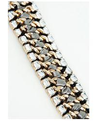 Missguided - Metallic Hazel Crystal Detail Woven Bracelet Gold - Lyst
