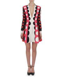 Valentino - Pink Carmen Stripe Dot Dress with Plunging Neck - Lyst