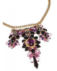 Matthew Williamson   Metallic Garnet Beaded Crescent Necklace   Lyst