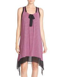 DKNY | Pink Chiffon & Jersey Chemise | Lyst