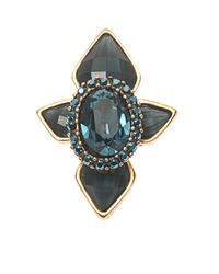 Oscar de la Renta - Blue Starburst Crystal Cocktail Ring - Lyst