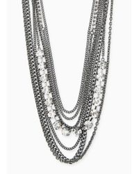 Violeta by Mango | Black Chain Waterfall Necklace | Lyst
