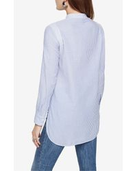 BCBGMAXAZRIA - Blue Jola Long-sleeve Fabric-blocked Top - Lyst