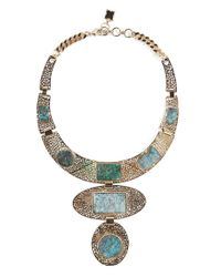 BCBGMAXAZRIA - Multicolor Natural Stone Filigree Necklace - Lyst