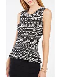 BCBGMAXAZRIA | Multicolor Maribella Striped Knit Jacquard Peplum Top | Lyst