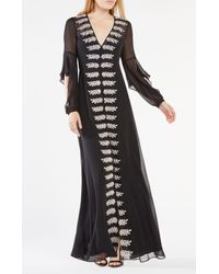 BCBGMAXAZRIA | Black Beverle Embroidered Silk Gown | Lyst