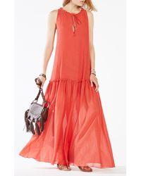 BCBGMAXAZRIA   Red Galiana Drop-waist Maxi Dress   Lyst