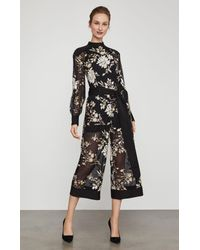 BCBGMAXAZRIA - Black Bcbg Embroidered Floral Sequin Jumpsuit - Lyst