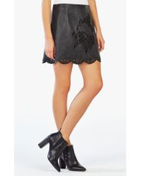 BCBGMAXAZRIA - Black Jenhifer Embroidered Faux-leather Miniskirt - Lyst