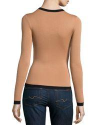 Michael Kors - Brown Long-sleeve Slim Top With Contrast Trim - Lyst