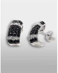 Lord & Taylor - Sterling Silver Huggie Earrings With Black Sapphire And Diamonds - Lyst