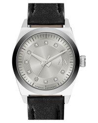Armani Exchange - Black 'active' Leather Strap Watch - Lyst