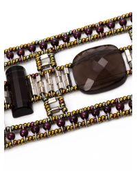 Ziio | Gray Murano Glass Beaded Bracelet | Lyst