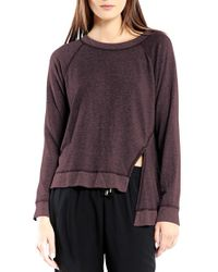 Michael Stars | Purple Asymmetrical Front Slit Pullover | Lyst