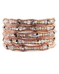 Chan Luu - Mystic Lab Mix Wrap Bracelet On Natural Brown Leather - Lyst