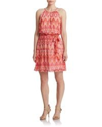 Guess | Pink Belted Halter Blouson Dress | Lyst