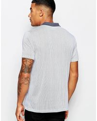 ASOS | Gray Jersey Stripe Polo With Contrast Collar for Men | Lyst