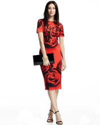 Neiman Marcus - Red Short-sleeve Printed Dress - Lyst