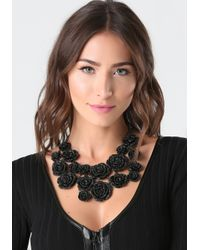 Bebe | Black Pave Rosette Necklace | Lyst